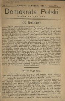 Demokrata Polski : pismo polityczne 1917 N.1