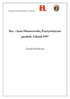 Anna Martuszewska, Pozytywistyczne parabole. Gdańsk 1997