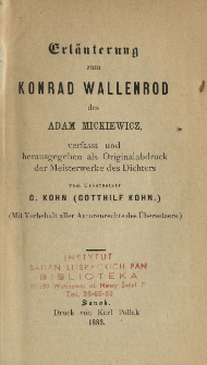 Erläuterung zum Konrad Wallenrod des Adam Mickiewicz