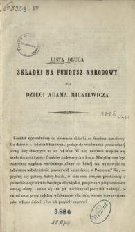 Lista druga składki na Fundusz Narodowy dla Dzieci Adama Mickiewicza.
