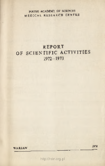 Report of Scientific Activities 1972-1973