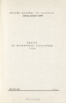 Report of Scientific Activivties 1974