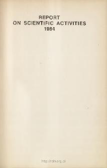 Report on Scientific Activities 1984