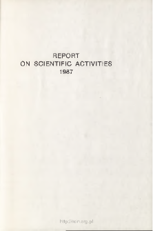 Report on Scientific Activities 1987
