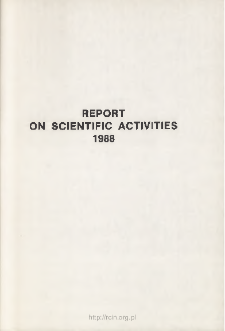 Report of Scientific Activities 1988