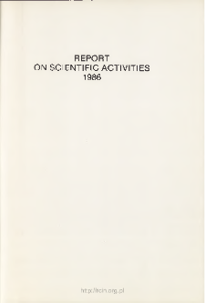 Report on Scientifc Activities 1986