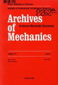 Archives of Mechanics Vol. 55 nr 2 (2003)