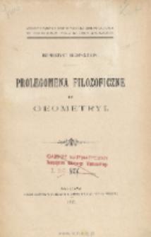 Prolegomena filozoficzne do geometryi