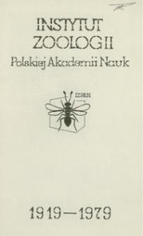 Instytut Zoologii Polskiej Akademii Nauk : 1919-1979