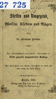"""Stettin und Umgegend : Wollin, Usedom und Rügen : des """"Fremdenführers durch Stettin, Swinemünde etc."""""""