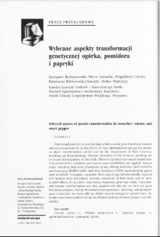 Selected aspects of genetic transformation in cucumber, tomato, and sweet pepper