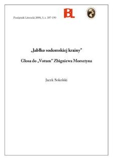 """""""Jabłko sodomskiej krainy"""" : glosa do """"Votum"""" Zbigniewa Morsztyna"""