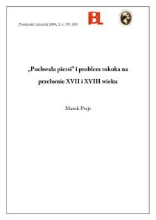 """""""Pochwała piersi"""" i problem rokoka na przełomie XVII i XVIII wieku"""