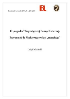 """O """"zagadce"""" Najświętszej Panny Kwietnej : przyczynek do Mickiewiczowskiej """"mariologii"""""""