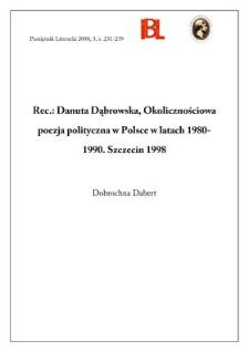 Danuta Dąbrowska, Okolicznościowa poezja polityczna w Polsce w latach 1980-1990. Szczecin 1998