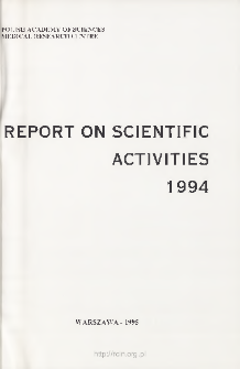 Report of Scientific Activities 1994