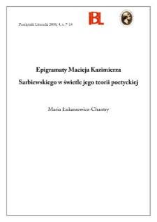 Epigramaty Macieja Kazimierza Sarbiewskiego w świetle jego teorii poetyckiej