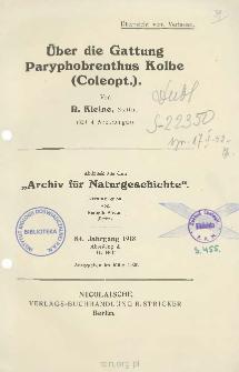 Über die Gattung Paryphobrenthus Kolbe (Coleopt.)