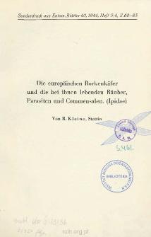Die europäischen Borkenkäfer und die bei ihnen lebenden Räuber Parasiten und Commensalen. (Ipidae)