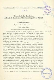 Entomologische Ergebnisse der Deutsch-Russischen Alai-Pamir-Expedition 1928 (II) : 2. Hymenoptera V. Apidae. Genus Anthophora Latr.