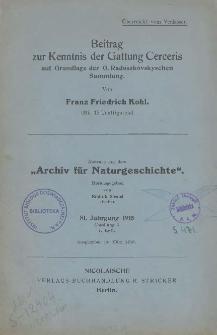 Beitrag zur Kenntnis der Gattung Cerceris auf Grundlage der O. Radoszkovskyschen Sammlung