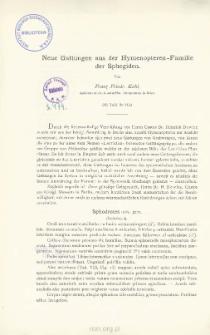 Neue Gattungen aus der Hymenopteren-Familie der Sphegiden