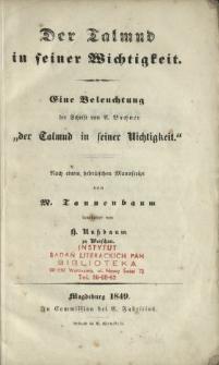 """Der Talmud in seiner Wichtigkeit : eine Beleuchtung der Schrift von A. Buchner """"der Talmud in seiner Nichtigkeit"""""""