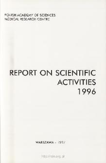 Report of Scientific Activities 1996