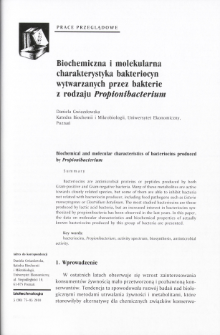 Biochemical and molecular characteristics of bacteriocins produced by Propionibacterium