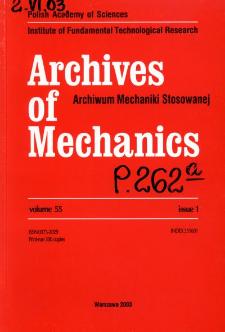 Archives of Mechanics Vol. 55 nr 1 (2003)