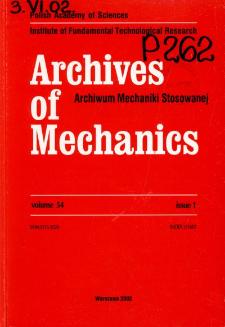 Archives of Mechanics Vol. 54 nr 1 (2002)