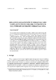 Rola dyfuzji kationów w odkształcaniu nadplastycznym ceramik tlenkowych. Cz. 2. Pomiary szybkości odkształcania