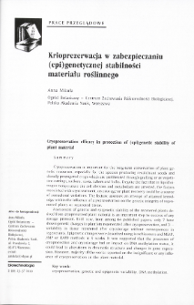 Cryopreservation efficacy in protection of (epi)genetic stability of plant material
