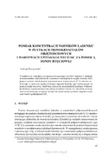 Pomiar koncentracji nosników ładunku w płytkach monokryształów objętościowych i warstwach epitaksjalnych SiC za pomocą sondy rtęciowej
