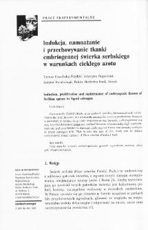 Indukcja, namnażanie i przechowywanie tkanki embriogennej świerka serbskiego w warunkach ciekłego azotu