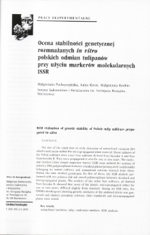 ISSR evaluation of genetic stability of Polish tulip cultivars propagated in vitro