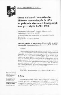 Ocena zmienności somaklonalnej liliowców rozmnożonych in vitro na podstawie obserwacji fenotypowych oraz przy użyciu RAPD i ISSR