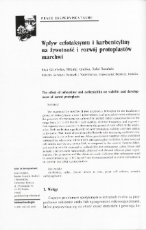 The effect of cefotaxime and carbenicillin on viability and development of carrot protoplasts
