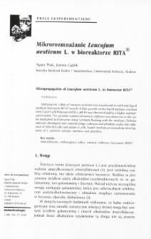 Micropropagation of Leucojum aestivum L. in bioraector RITA®