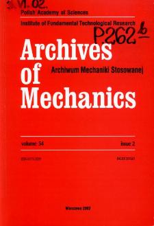 Archives of Mechanics Vol. 54 nr 2 (2002)