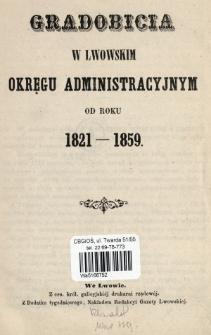 Gradobicia w lwowskim okręgu administracyjnym od roku 1821-1859.