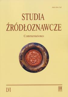 Studia Źródłoznawcze = Commentationes T. 56 (2018), Title pages, Contents