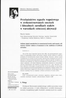 Przekaźnictwo sygnału wapniowego w zrekonstruowanych oocytach i klonalnych zarodkach ssaków w warunkach sztucznej aktywacji