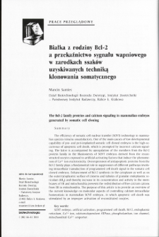 Białka z rodziny Bcl-2 a przekaźnictwo sygnału wapniowego w zarodkach ssaków uzyskiwanych techniką klonowania somatycznego