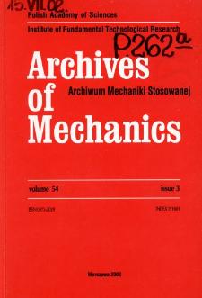 Archives of Mechanics Vol. 54 nr 3 (2002)
