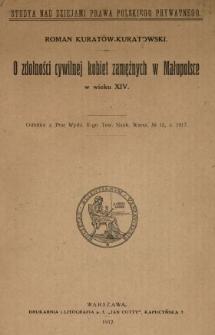 O zdolności cywilnej kobiet zamężnych w Małopolsce w wieku XIV