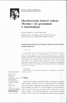 Characterization of bacteria of the genus Thermus and their biotechnological importance