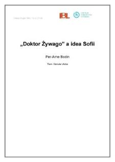 """""""Doktor Żywago"""" a idea Sofii"""