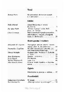 Teksty Drugie Nr 1-2 (1992), Spis treści