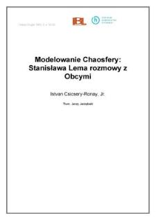 Modelowanie Chaosfery: Stanisława Lema rozmowy z Obcymi
